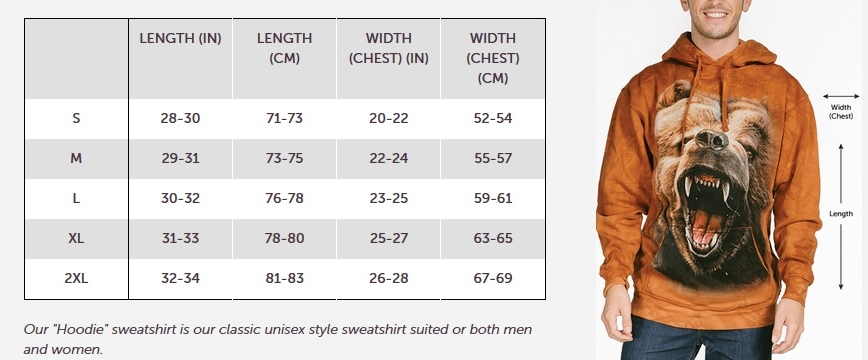 The Mountain Adult Hoodie Size Guide