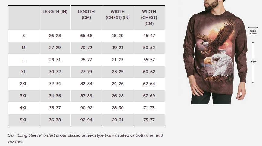 The Mountain Adult Longsleeve T-shirt Size Guide