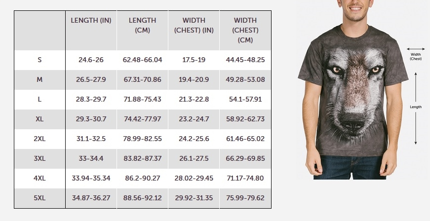 The Mountain Adult T-shirt Size Guide