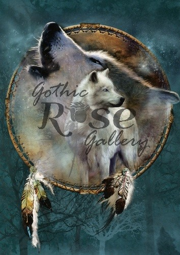 Wolf Spirit Shield Greeting Card