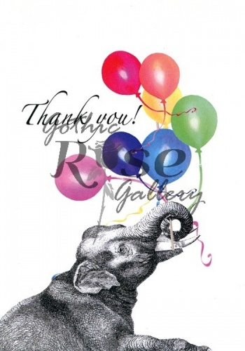 Balloon Elephant Thanks Thank You Card