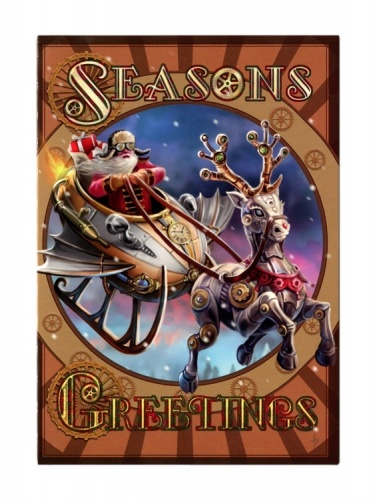 Steampunk Santa Christmas Card