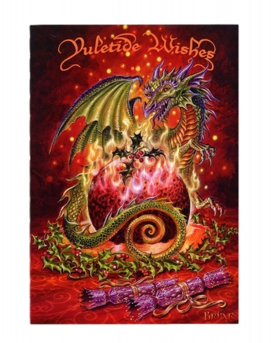 Flaming Dragon Pudding Christmas Card