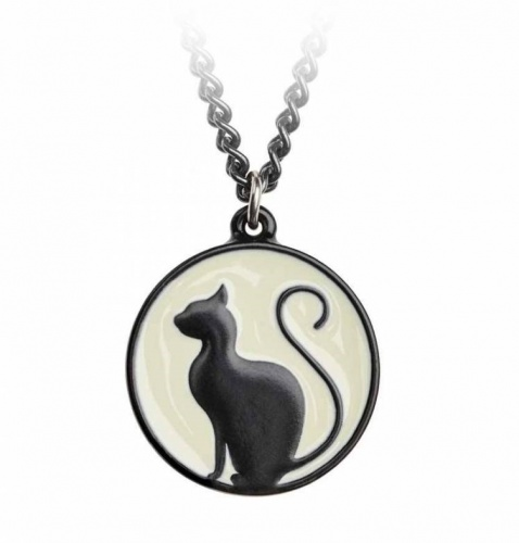 Meow at the Moon Cat Pewter Pendant